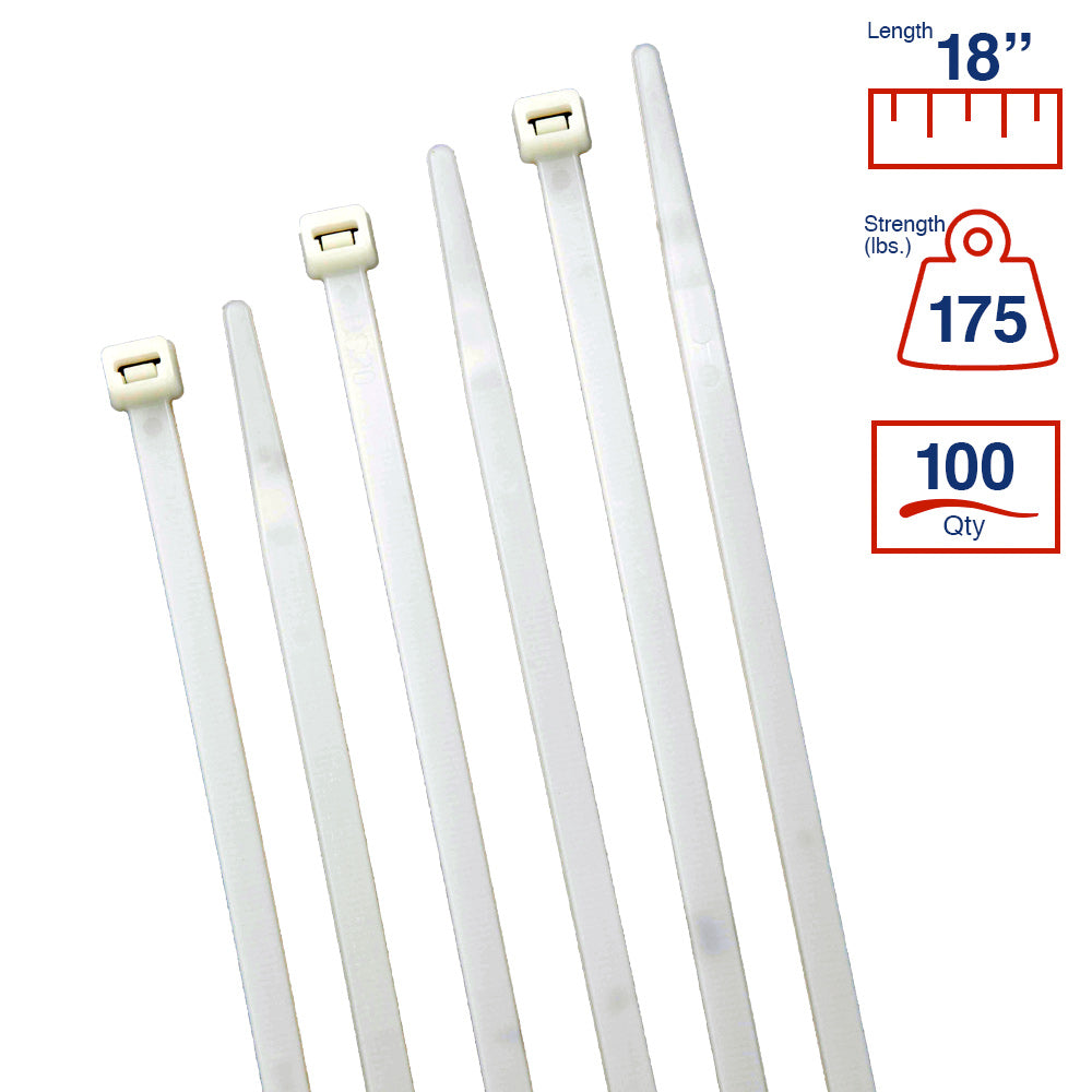 BCT 17 Inch 175 lb Cable Ties - Heavy Duty Industrial/Home Use - Bag of 100 - Natural - Zip Ties - Y171759C