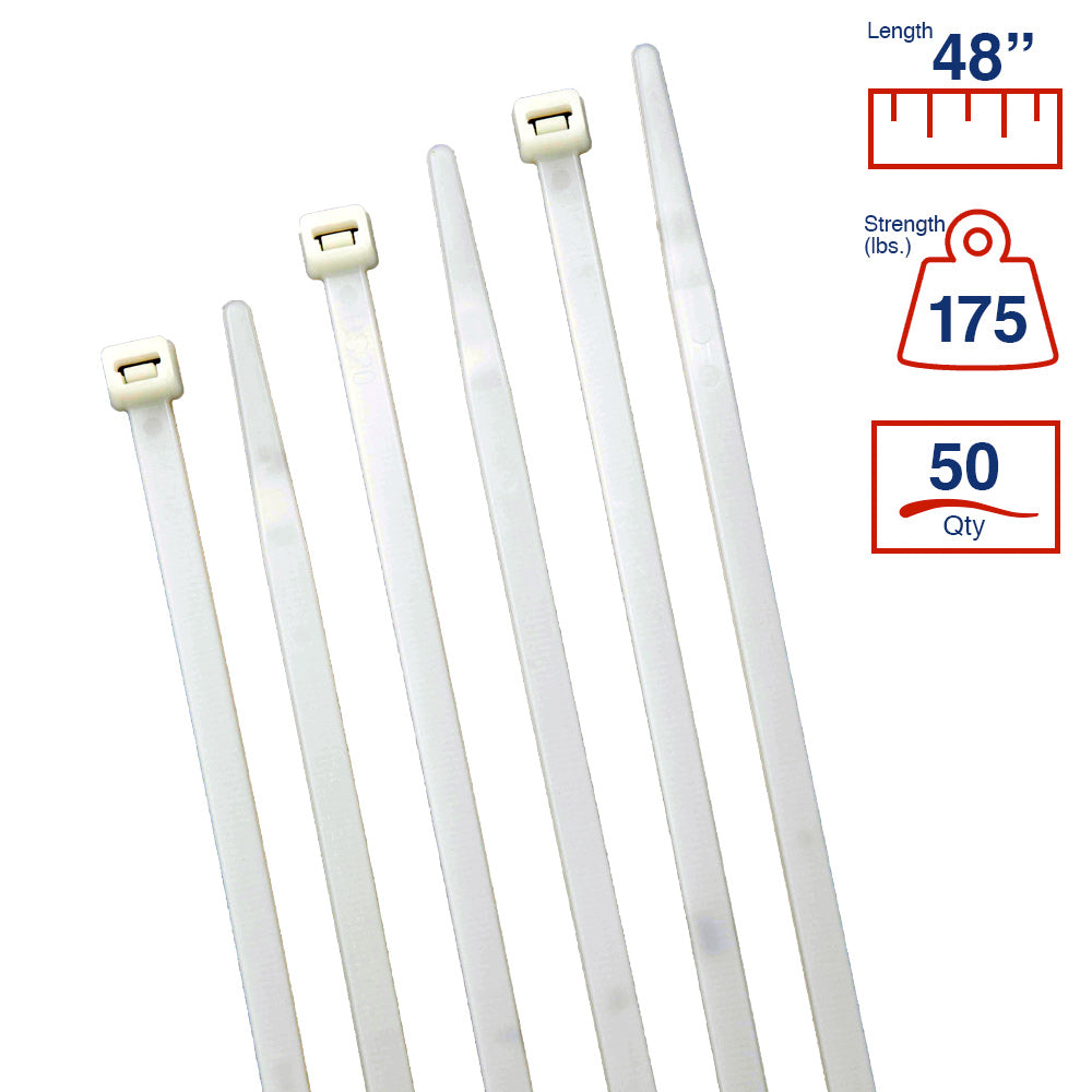 BCT 48 Inch 175 lb Cable Ties - Heavy Duty Industrial/Home Use - Bag of 50 - Natural - Zip Ties - Y481759L