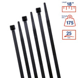 BCT 18 Inch 175 lb Cable Ties - Heavy Duty Industrial/ Indoor-Outdoor  Bag of 25 - UV Black - Zip Ties - Y181750Q