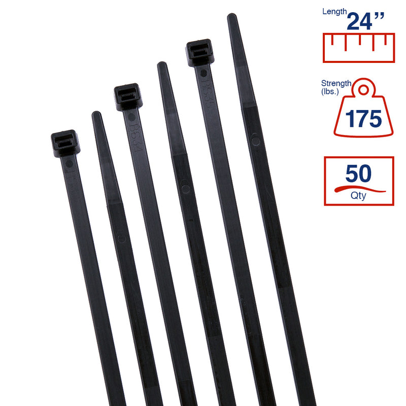 BCT 24 Inch 175 lb Cable Ties - Heavy Duty Industrial/Home Use - Bag of 50 - UV Black - Zip Ties - Y241750L