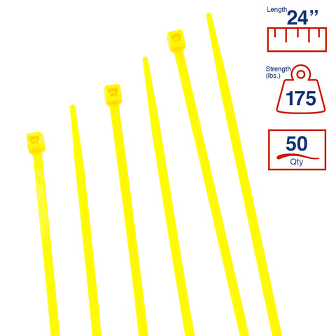 BCT 24 Inch 175 lb Cable Ties - Heavy Duty Industrial/Home Use - Bag of 50 - Yellow - Zip Ties - Y241754L