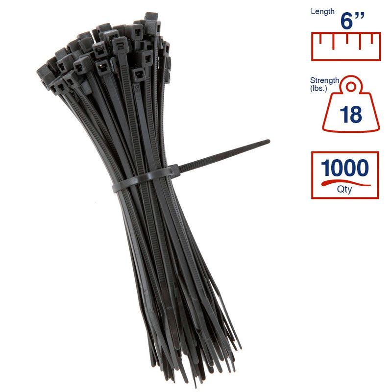 BCT 6 Inch 18 lb Cable Ties - Light Duty Industrial/Home Use - Bag of 1000 - UV Black - Zip Ties - Y6180M