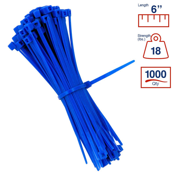 BCT 6 Inch 18 lb Cable Ties - Light Duty Industrial/Home Use - Bag of 1000 - Blue - Zip Ties - Y6186M