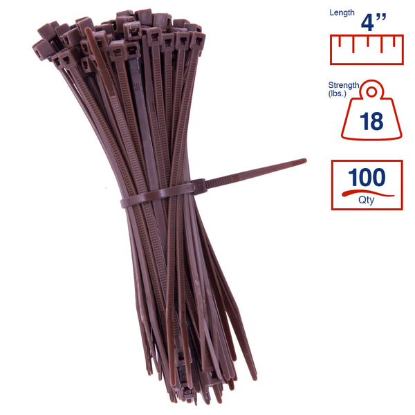 BCT 4 Inch 18 lb Cable Ties - Light Duty Industrial/Home Use - Bag of 100 - Brown - Zip Ties - Y4181C