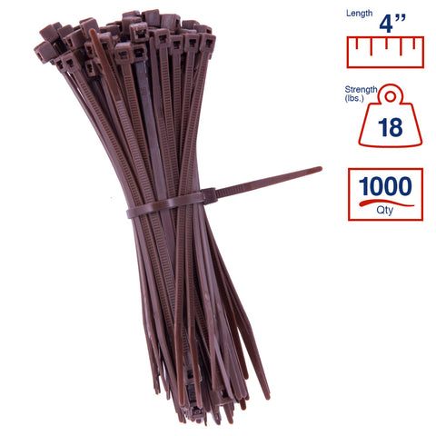 BCT 4 Inch 18 lb Cable Ties - Light Duty Industrial/Home Use - Bag of 1000 - Brown - Zip Ties - Y4181M