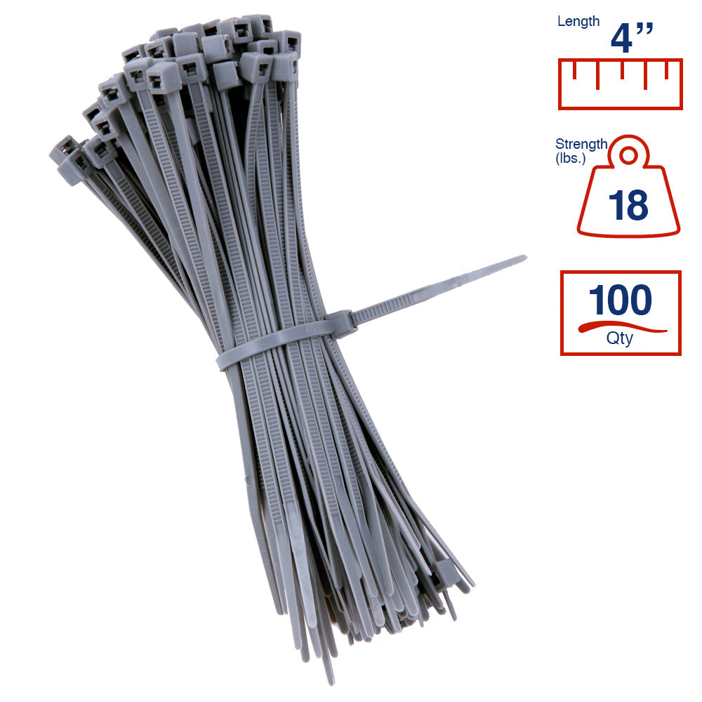 BCT 4 Inch 18 lb Cable Ties - Light Duty Industrial/Home Use - Bag of 100 - Gray - Zip Ties - Y4188C