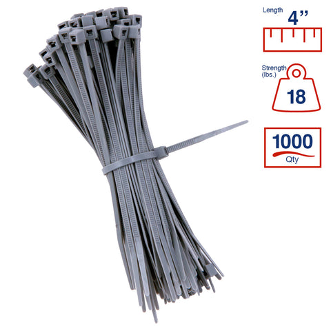 BCT 4 Inch 18 lb Cable Ties - Light Duty Industrial/Home Use - Bag of 1000 - Gray - Zip Ties - Y4188M
