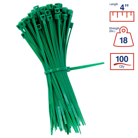 4 Inch 18 lb - Light Duty Industrial/Home Use - Bag of 100 - Green - Y4185C