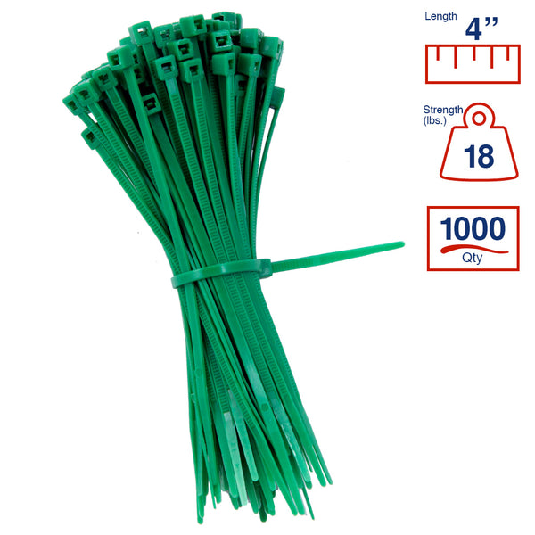 BCT 4 Inch 18 lb Cable Ties - Light Duty Industrial/Home Use - Bag of 1000 - Green - Zip Ties - Y4185M