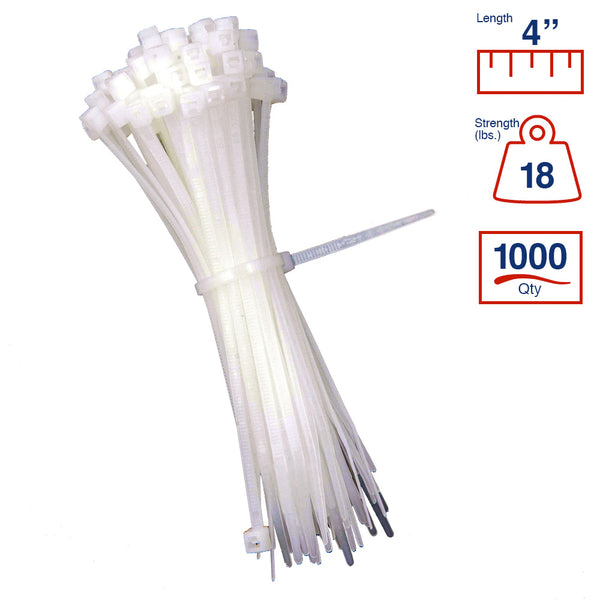 BCT 4 Inch 18 lb Cable Ties - Light Duty Industrial/Home Use - Bag of 1000 - Natural - Zip Ties - Y4189M