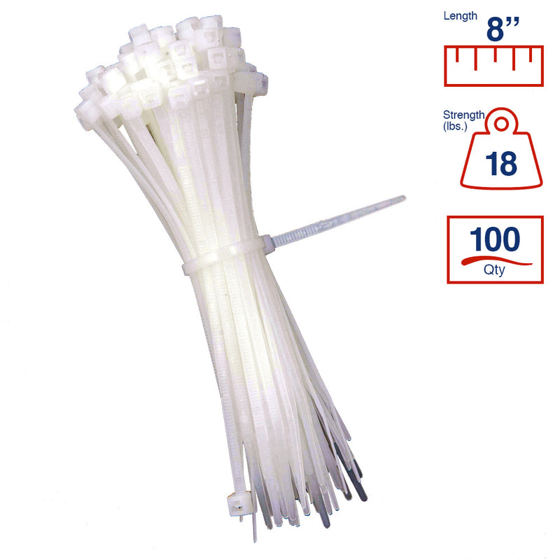 BCT 8 Inch 18 lb Cable Ties - Light Duty Industrial/Home Use - Bag of 100 - Natural - Zip Ties - Y8189C
