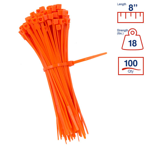 BCT 8 Inch 18 lb Cable Ties - Light Duty Industrial/Home Use - Bag of 100 - Orange - Zip Ties - Y8183C