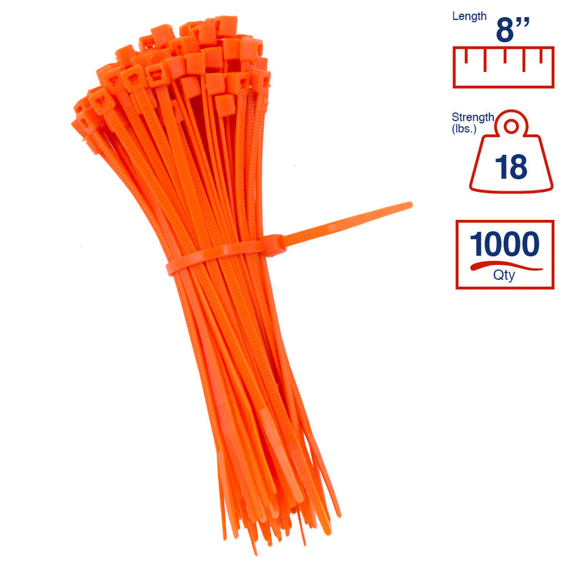 BCT 8 Inch 18 lb Cable Ties - Light Duty Industrial/Home Use - Bag of 1000 - Orange - Zip Ties - Y8183M