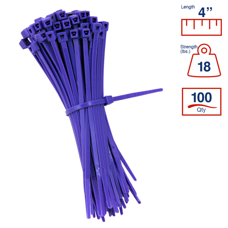 BCT 4 Inch 18 lb Cable Ties - Light Duty Industrial/Home Use - Bag of 100 - Purple - Zip Ties - Y4187C