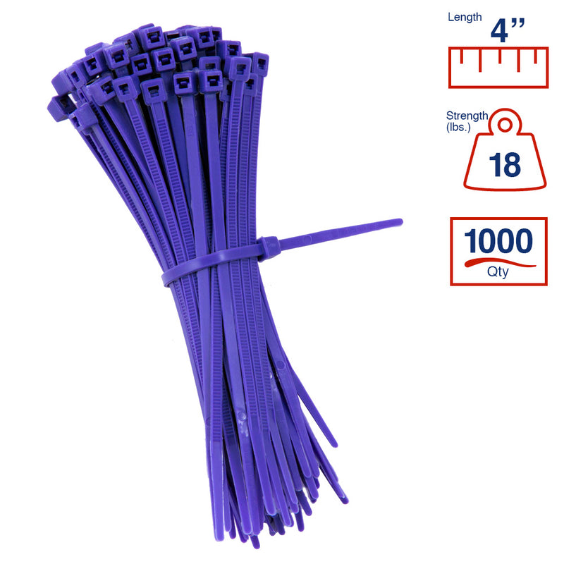 BCT 4 Inch 18 lb Cable Ties - Light Duty Industrial/Home Use - Bag of 1000 - Purple - Zip Ties - Y4187M