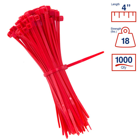 BCT 4 Inch 18 lb Cable Ties - Light Duty Industrial/Home Use - Bag of 1000 - Red - Zip Ties - Y4182M