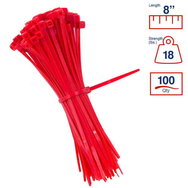 BCT 8 Inch 18 lb Cable Ties - Light Duty Industrial/Home Use - Bag of 100 - Red - Zip Ties - Y8182C