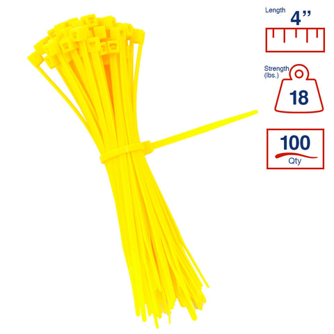 BCT 4 Inch 18 lb Cable Ties - Light Duty Industrial/Home Use - Bag of 100 - Yellow - Zip Ties - Y4184C