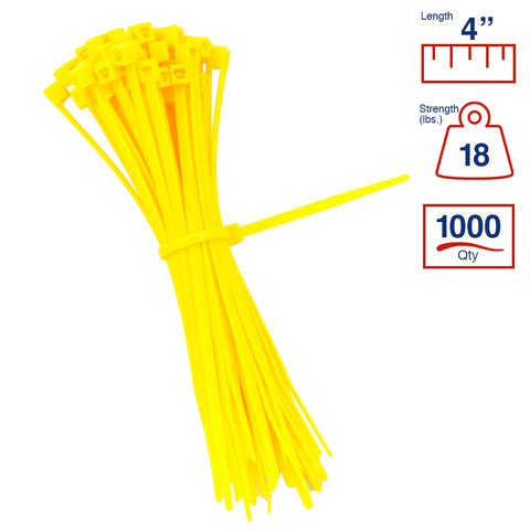 BCT 4 Inch 18 lb Cable Ties - Light Duty Industrial/Home Use - Bag of 1000 - Yellow - Zip Ties - Y4184M