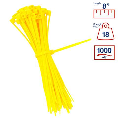 BCT 8 Inch 18 lb Cable Ties - Light Duty Industrial/Home Use - Bag of 1000 - Yellow - Zip Ties - Y8184M
