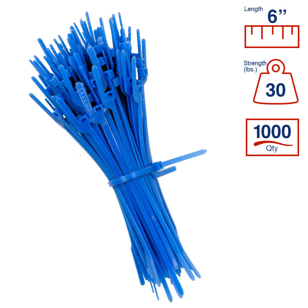 BCT Easy Release 6 Inch Tear Away Cable Ties - Bag of 1000 - Blue - Zip Ties - Y66TTM