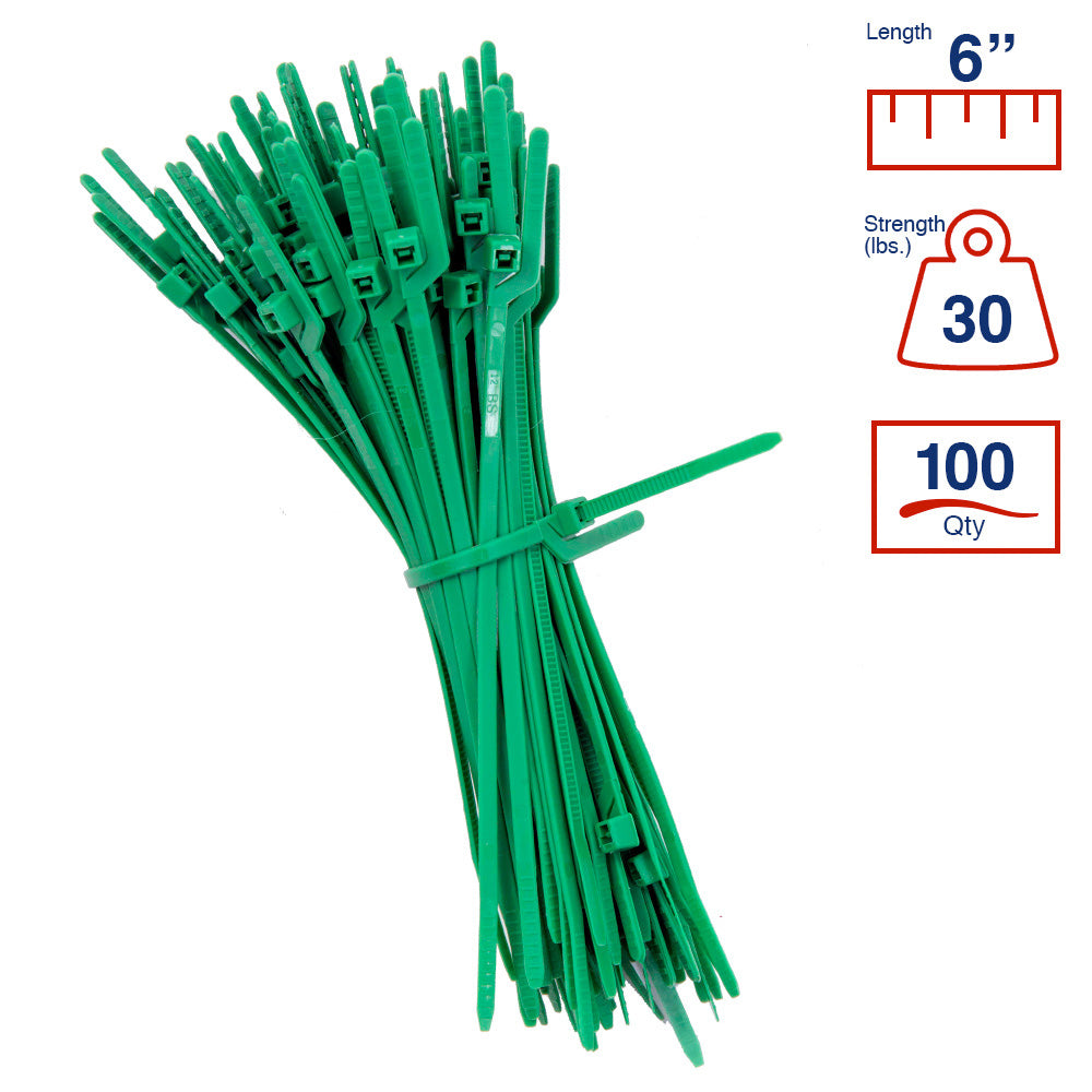 BCT Easy Release 6 Inch Tear Away Cable Ties - Bag of 100 Bag - green - Zip Ties - Y65TTC