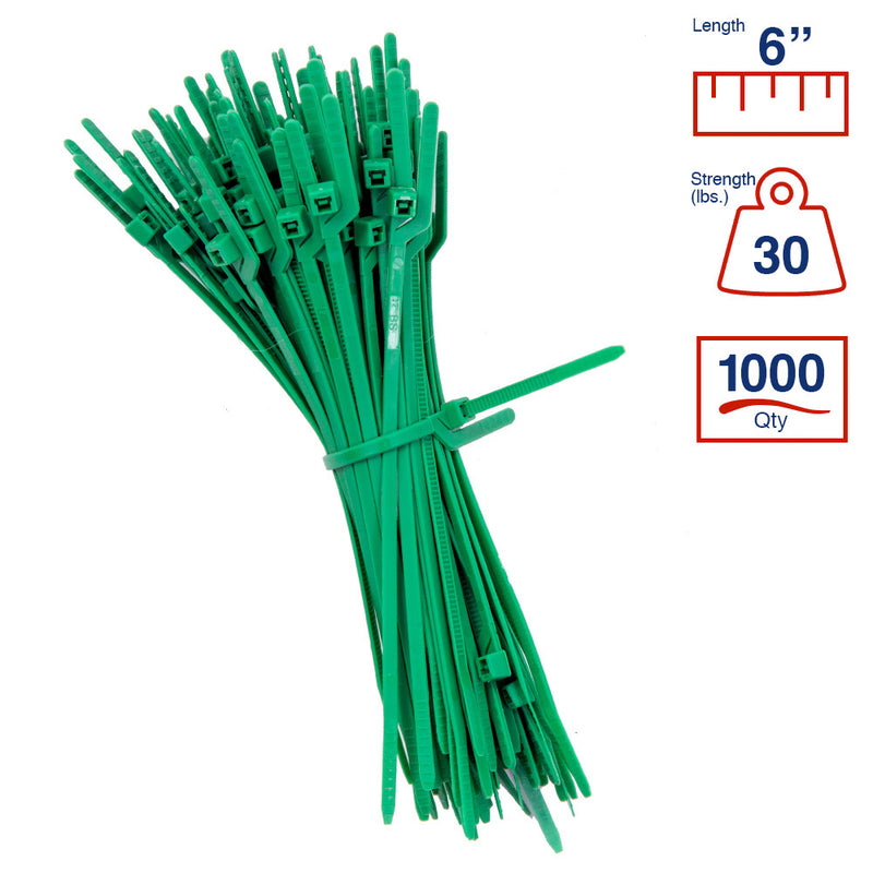 BCT Easy Release 6 Inch Tear Away Cable Ties - Bag of 1000 - 9 Color Options