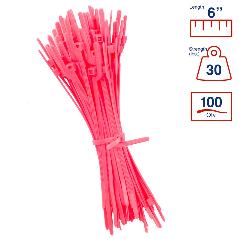 BCT Easy Release 6 Inch Tear Away Cable Ties - Bag of 100 Bag - Pink - Zip Ties - Y612TTC