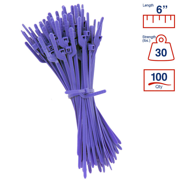BCT Easy Release 6 Inch Tear Away Cable Ties - Bag of 100 Bag - Purple - Zip Ties - Y67TTC