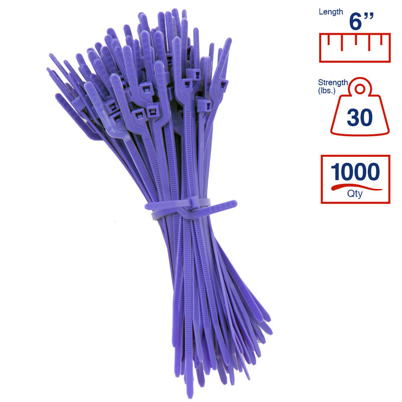 BCT Easy Release 6 Inch Tear Away Cable Ties - Bag of 1000 - Purple - Zip Ties - Y67TTM