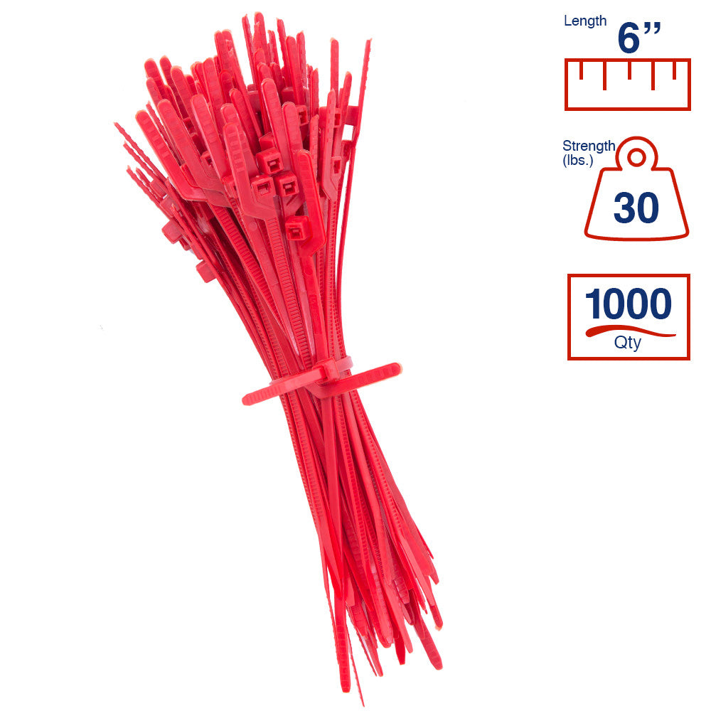 BCT Easy Release 6 Inch Tear Away Cable Ties - Bag of 1000 - Red - Zip Ties - Y62TTM