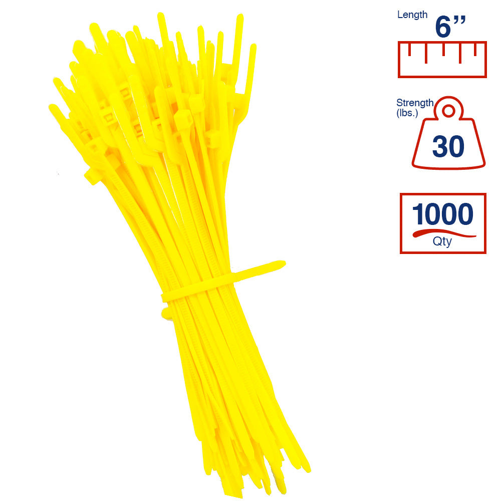 BCT Easy Release 6 Inch Tear Away Cable Ties - Bag of 1000 - Yellow - Zip Ties - Y64TTM