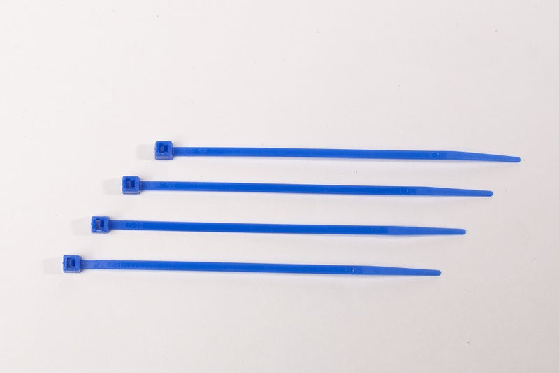 BCT 6 Inch 18 lb Cable Ties - Light Duty Industrial/Home Use - Bag of 100 - Blue - Zip Ties - Y6186C