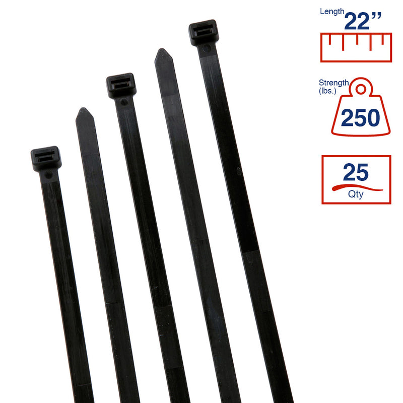 BCT 22 Inch 250 lb Cable Ties - Extra Heavy Duty Industrial/Home Use - Bag of 25 - UV Black - Zip Ties - Y222500Q