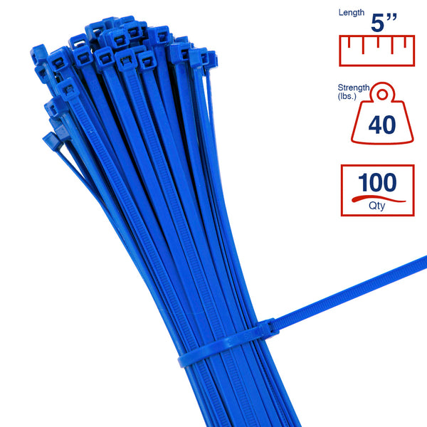 BCT 5 Inch 40 lb Cable Ties - Intermediate Duty Industrial/Home Use - Bag of 100 - Blue - Zip Ties - Y5406C