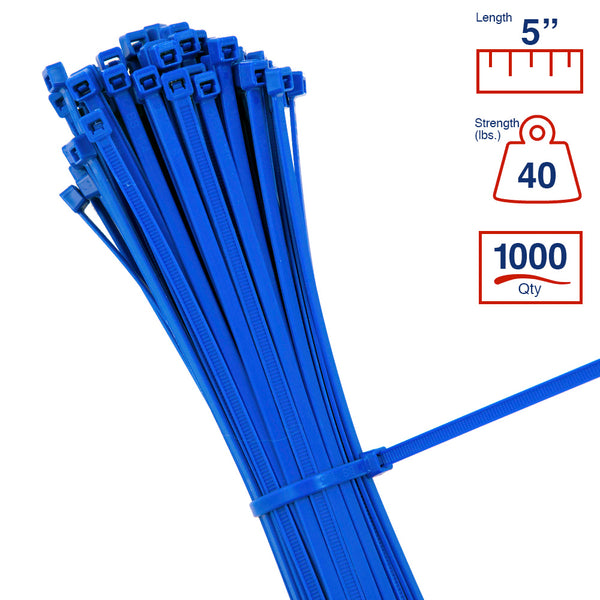 BCT 5 Inch 40 lb Cable Ties - Intermediate Duty Industrial/Home Use - Bag of 1000 - Blue - Zip Ties - Y5406M