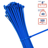 BCT 8 Inch 40 lb Cable Ties - Intermediate Duty Industrial/Home Use - Bag of 100 - Multiple Colors