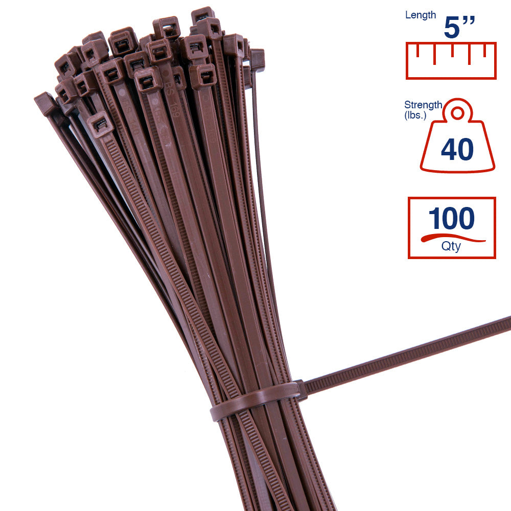 BCT 5 Inch 40 lb Cable Ties - Intermediate Duty Industrial/Home Use - Bag of 100 - Brown - Zip Ties - Y5401C