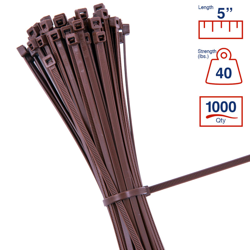 BCT 5 Inch 40 lb Cable Ties - Intermediate Duty Industrial/Home Use - Bag of 1000 - Brown - Zip Ties - Y5401M