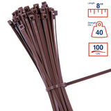 BCT 8 Inch 40 lb Cable Ties - Intermediate Duty Industrial/Home Use - Bag of 100 - Brown - Zip Ties - Y8401C