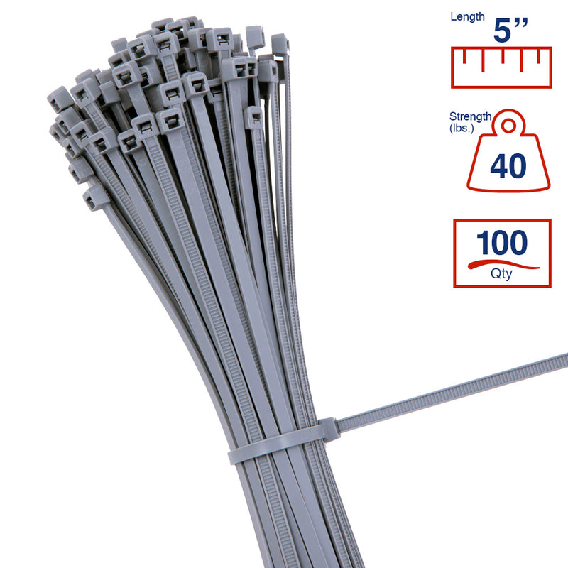 BCT 5 Inch 40 lb Cable Ties - Intermediate Duty Industrial/Home Use - Bag of 100 - Gray - Zip Ties - Y5408C
