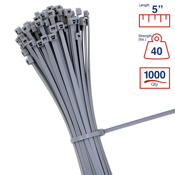 BCT 5 Inch 40 lb Cable Ties - Intermediate Duty Industrial/Home Use - Bag of 1000 - Gray - Zip Ties - Y5408M