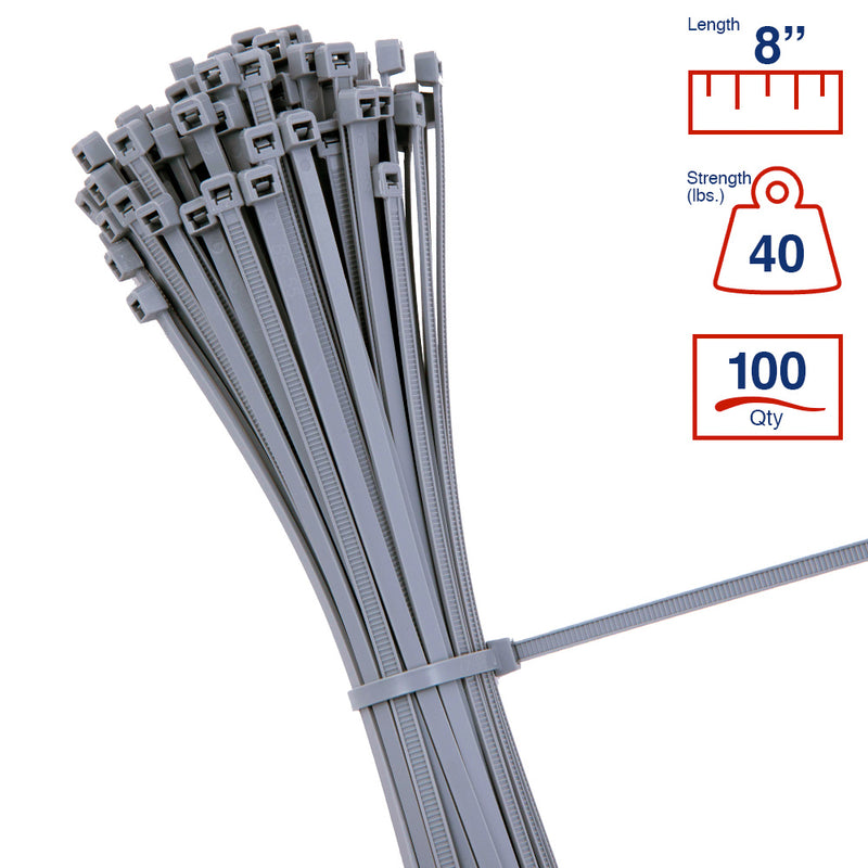 BCT 8 Inch 40 lb Cable Ties - Intermediate Duty Industrial/Home Use - Bag of 100 - Gray - Zip Ties - Y8408C