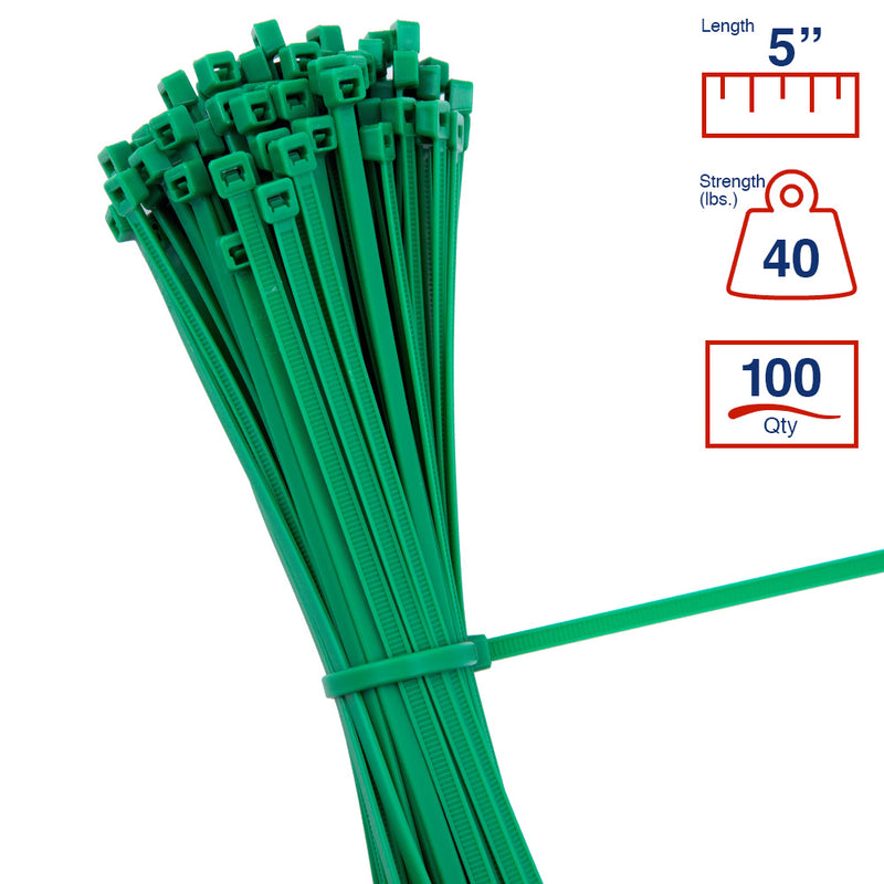 BCT 5 Inch 40 lb Cable Ties - Intermediate Duty Industrial/Home Use - Bag of 100 - Green - Zip Ties - Y5405C