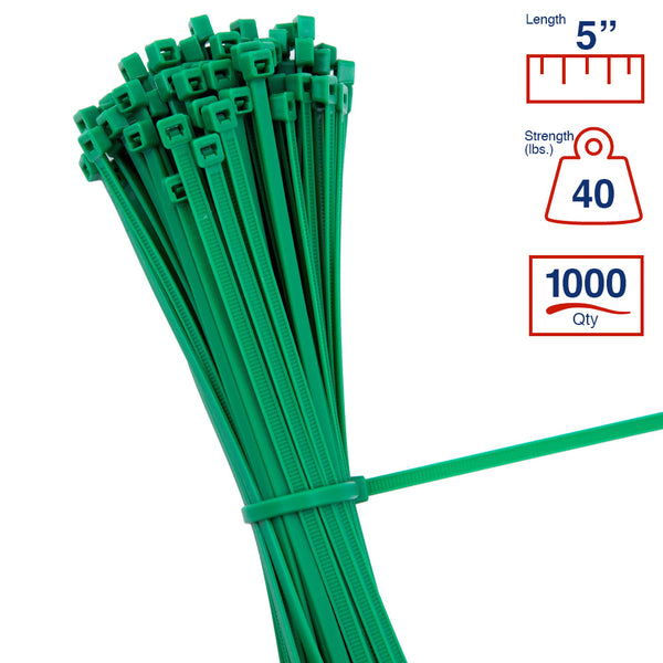BCT 5 Inch 40 lb Cable Ties - Intermediate Duty Industrial/Home Use - Bag of 1000 - Green - Zip Ties - Y5405M