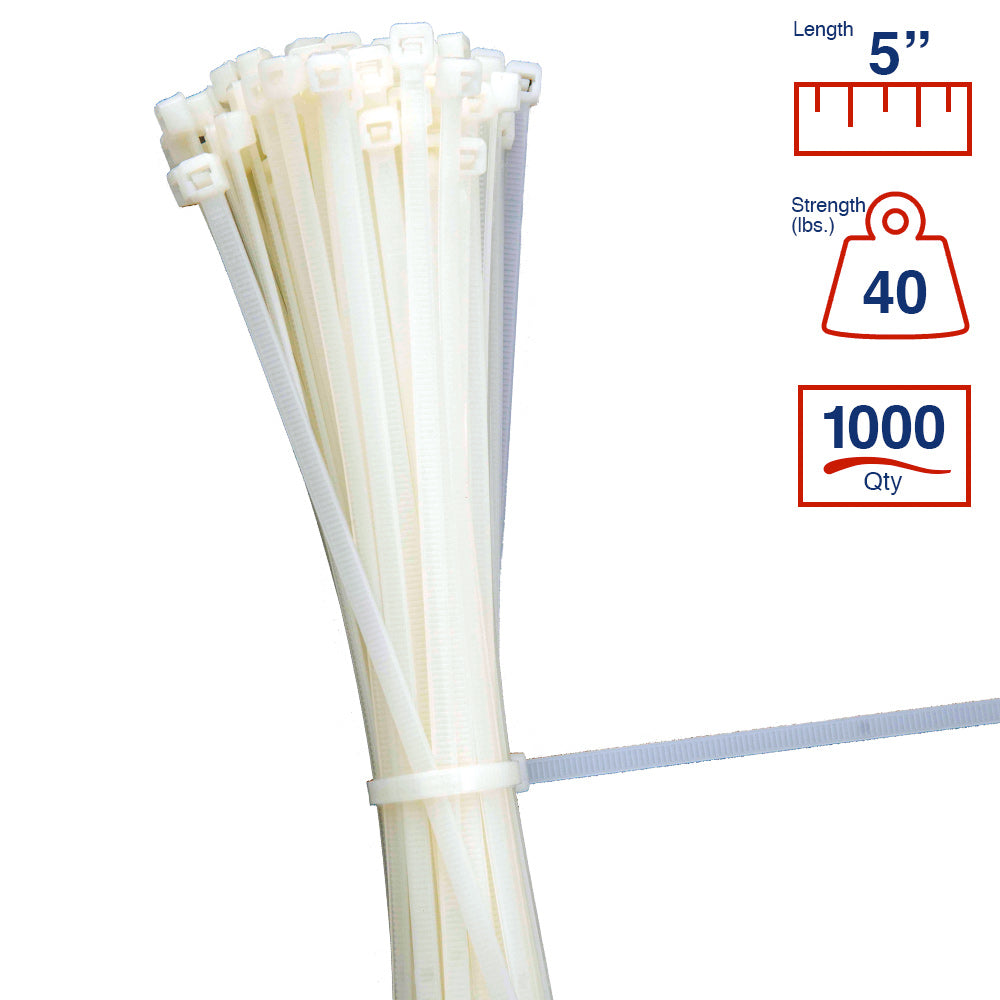 BCT 5 Inch 40 lb Cable Ties - Intermediate Duty Industrial/Home Use - Bag of 1000 - Natural - Zip Ties - Y5409M