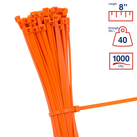 BCT 8 Inch 40 lb Cable Ties - Intermediate Duty Industrial/Home Use - Bag of 1000 - Orange - Zip Ties - Y8403M