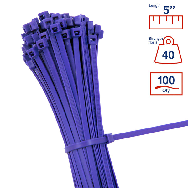 BCT 5 Inch 40 lb Cable Ties - Intermediate Duty Industrial/Home Use - Bag of 100 - Purple - Zip Ties - Y5407C