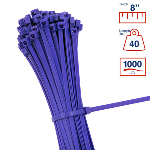 BCT 8 Inch 40 lb Cable Ties - Intermediate Duty Industrial/Home Use - Bag of 1000 - Purple - Zip Ties - Y8407M