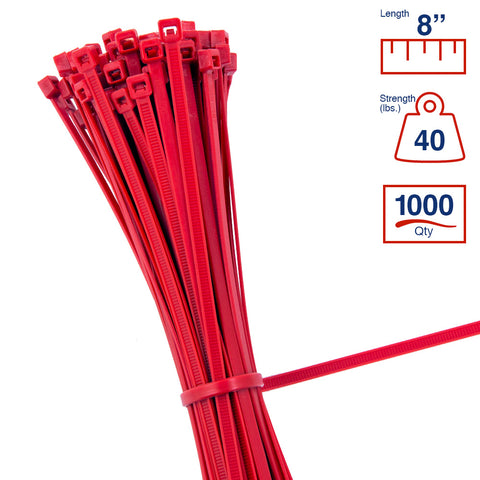 BCT 8 Inch 40 lb Cable Ties - Intermediate Duty Industrial/Home Use - Bag of 1000 - Red - Zip Ties - Y8402M